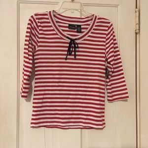 Bobbie Brooks Red/White Striped T-Shirt - Size S